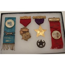 Riker case of antique and collectible  stockyard event ribbons and medals,  originally from the famo
