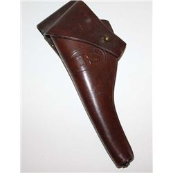 "U.S. military leather flap holster for a DA  revolver marked ""Rock Island  Arsenal/1904/T.C.""; front"