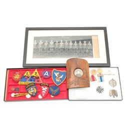 Misc. lot including a riker case of misc.  nazi medals and a nazi coin plus a Japanese  medal and a