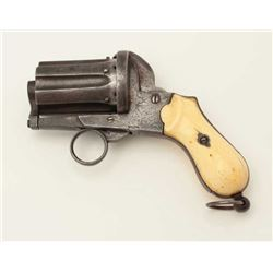 "Ring trigger pinfire 6-shot revolver, 9mm  caliber, 2.25"" barrels, engraved, ivory  grips; overall g"