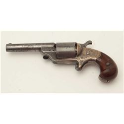 Moore teat fire spur trigger revolver, .30  caliber, brass frame, engraved, wood grips,  S/N 2966 in