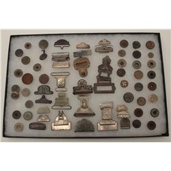 Riker case of over 40 misc. dug-up buttons,  snaps, clasps, etc. found during construction  in downt