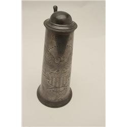 "Pewter Mayor's Shooting Cup, approximately  12"" in height engraved with a U.S. Spread  Eagle over st"