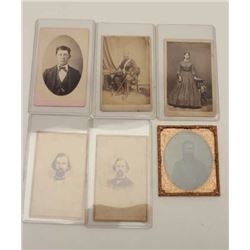 "Lot of Civil War era photos including a  tintype of a bearded man and 5 CDVs; 2 marked  on back ""J.M"