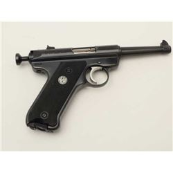 "Ruger MK II semi-automatic pistol, .22LR  caliber, 4.5"" barrel, blued finish, checkered  black medal"
