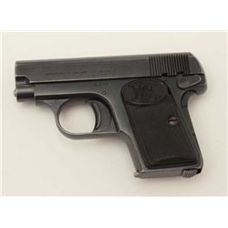 "FN Pocket Browning Patent semi-automatic  pistol, 6.35mm caliber, 2"" barrel, blued  finish, checkere"