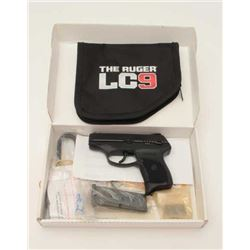 """Ruger Model LC9 semi-automatic pistol, 9mm  caliber, 3"""" barrel, black finish, checkered  grips, S/N"""