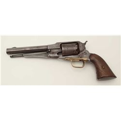 "Remington New Model 1858 percussion revolver,  S/N 23427, barrel shortened to 6.5"", wood  grips, gre"