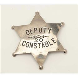 "Old stock 6-point badge marked ""Deputy  Constable 20""; partial hallmark on reverse  ""____Stamp/St. P"