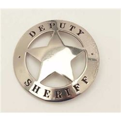 "Old stock 5-point cut-out badge marked  ""Deputy Sheriff""; no hallmark on reverse.     Est.:  $100-$1"