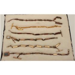 Riker case of 6 different antique watch  chains/fobs.     Est.:  $150-$300.