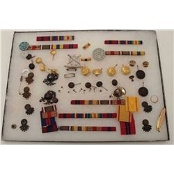 Riker case of U.S. ribbons, dog tag, buttons,  etc. for U.S.M.C. soldier Robert C. Allan;  dog tag i