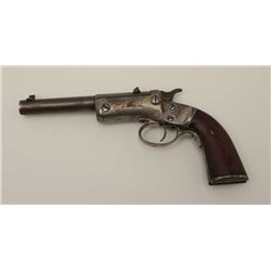 "Stevens single shot tip-up pistol, .22  caliber, 5"" barrel, wood grips, S/N 29574;  dark patina to b"