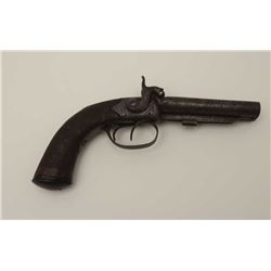 English double barrel percussion pistol,  engraved frame and hammers, checkered wood  grip, missing