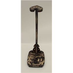 Antique Japanese sword stand made from hand  carved wood with abalone shell inlay and  lacquered fin