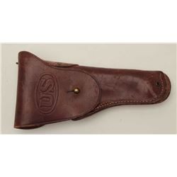 Lot of two U.S. marked flap holsters.  The  lot includes two U.S. marked leather  holsters, each app