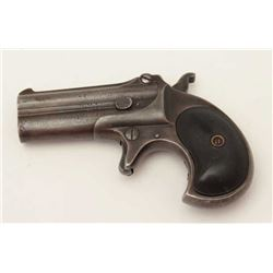 Remington O/U Type 3 derringer, .41 caliber,  checkered black hard rubber grips, S/N 965,  dark pati
