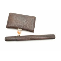 Decorative Japanese pipe, tobacco pouch and  pipe case with Ojimi bead and decorative  mount.  The l
