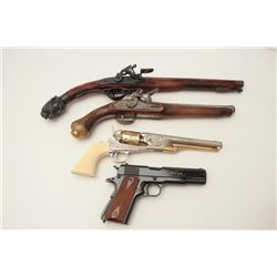 Lot of 4 decorator non-guns including two  flintlock pistols, one fancy percussion  revolver, and a