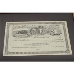 Framed original Buffalo Brewing Company  (incorporated Nov. 8th, 1888) stock  certificate No. 2110,