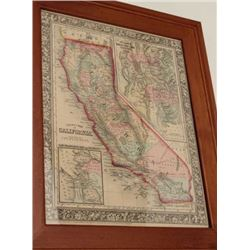 Framed old color County Map of California  with an inset map of the Settlements of the  Great Salt L