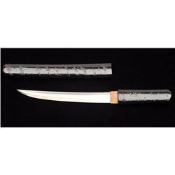 "Shinto period tanto (short sword) in simple  lacquered over wood case and grips. 7 ½""  blade that is"