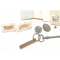"""Nazi relic lot including some documents,  pins, """"tinnies"""", etc. plus a couple U.S. Army  uniform cam"""