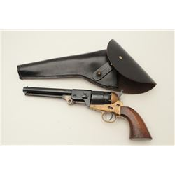 Replica of  a Confederate percussion  revolver, .44 caliber, brass frame and  straps, blued and case