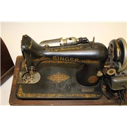 Singer brand table top sewing machine, ca.  1930's; with case; missing parts.    Est.:   $50-$100.