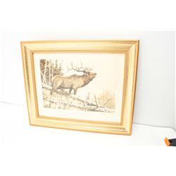 """September Song Elk"", framed and hand signed  etching on rag paper by noted wildlife  artist, Mike S"