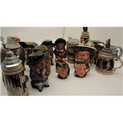 Lot of 25 misc. collector steins, mostly  ceramic, including Royal Doulton-made famous  personality