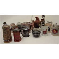 Lot of 21 misc. collector steins, mostly  ceramic, many advertisers & commemoratives,  one finely de
