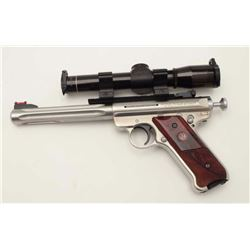 "Ruger MK III Hunter Model semi-automatic  pistol, .22LR caliber, 7"" barrel, stainless  steel, loaded"