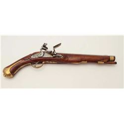 Beautifully restored muzzle loading flintlock  pistol, approximately .60 caliber.  This  18th centur