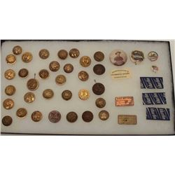 "Riker case of misc. U.S. military brass  buttons, pins and brass ""Will & Finck"" tags  plus 3 Marlin"