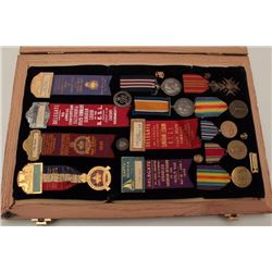 Wood and glass display case with ribbons &  medals of Thomas Ward who served in WW I and  WW II; wit