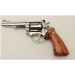 "Smith & Wesson Model 63 DA revolver, .22LR  caliber, 4"" barrel, stainless, smooth wood  medallion gr"