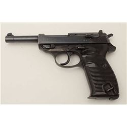"Walther P-38 DA semi-automatic pistol, 9mm  caliber, 5"" barrel, nazi proofed,  import-marked, blued"