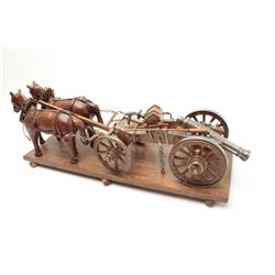 Minature Horse drawn artillery cannon with  complete handmade carved wood horses, turned  metal and