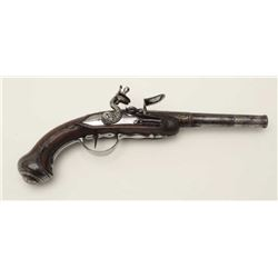 "18th century flintlock pistol with screw  barrel and lock engraved in script  ""Manafac-A-Royal at St"