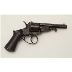 Excellent quality and unusual brass frame  pinfire revolver with fine engraving and  under lever rel