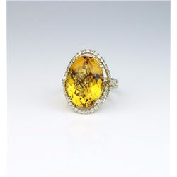Spectacular ladies ring featuring a  checkerboard cut Citrine weighing approx.  20.00 carats and mic