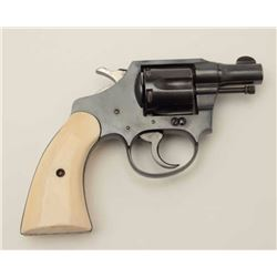"Colt Bankers Special .38 cal. DA revolver, 2""  barrel, blue finish, ivory grips, factory  inscribed"