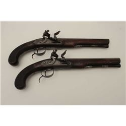 "Pair of cased flintlock dueling pistols  signed ""Grierson"" maker to his majesty circa  about 1800. T"