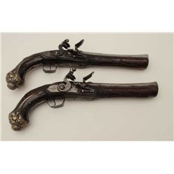 Pair of blunderbuss flintlock pistols made  for mid-eastern trade circa 1800-1830's.  Unsigned but F