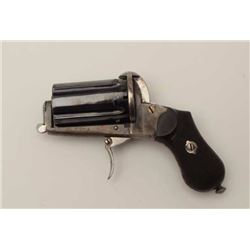"""Exceptional large size pinfire """"Apache""""  revolver, 9mm caliber, 2.25"""" barrels, blued  cylinder and c"""
