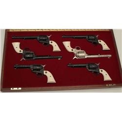 Colt Single Action Army 6-gun garniture  consisting of six factory engraved D-Grade  Colt Single Act