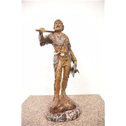 Large bronze of mountain man in buckskins  with trade gun, bowie knife and full period  regalia, Sig