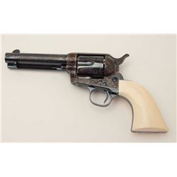 "Western style engraved Colt SAA revolver,  .44-40 cal., 4-3/4"" barrel, blue and case  hardened finis"