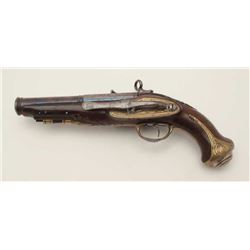 "18th century miquelet flintlock pistol in  very good plus condition signed ""Torrento"" on  the lock a"
